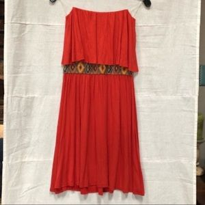 Tyche Strapless Western Weekend Flounce Mini Dress